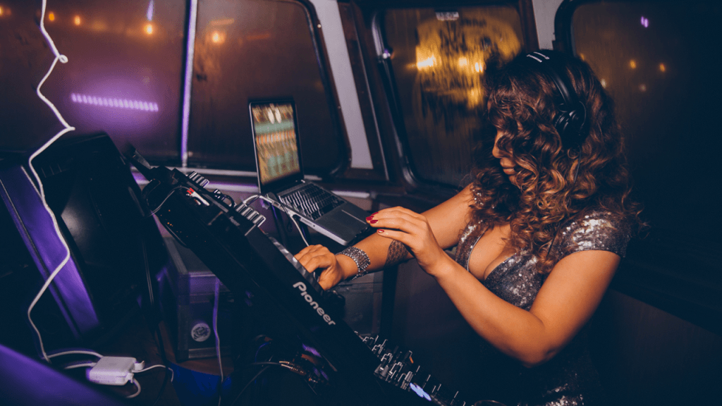 Dani DJing at London Glamour Tour featuring Rosie Jones, Emma Glover and India Reynolds.